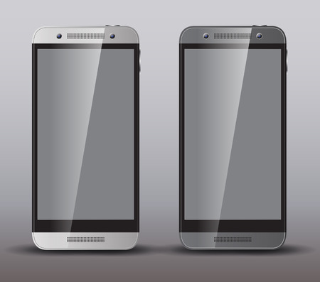 Two realistic smartphone concept - silver and dark grey. Highly detailed responsive realistic smart phone mockup isolated on gray background. Illustration