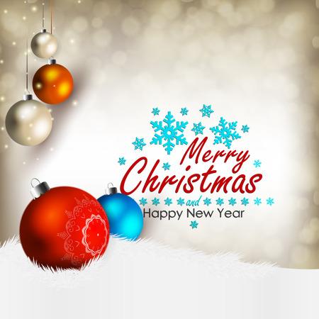 nowy rok: Wesołych Świąt i Szczęśliwego Nowego Roku! Kartka bożonarodzeniowa. Ilustracja
