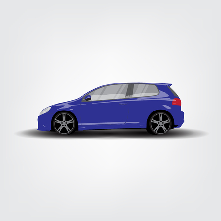 front wheel drive: Side view of blue car on white and grey background