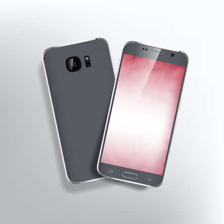 smart phone: Back and front of realistic phone design concept. Black color device.