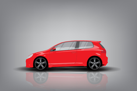 alloy wheel: Side view of red car on grey background