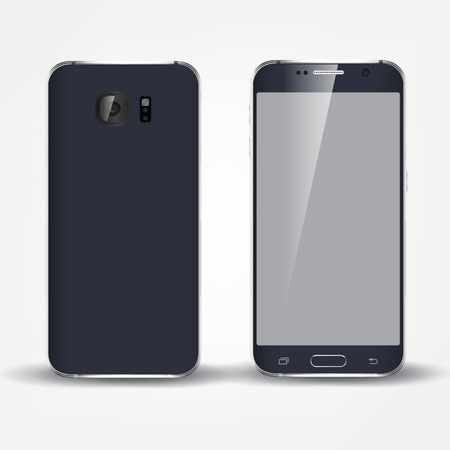 phone isolated: Back and front of realistic phone design concept. Black color device.