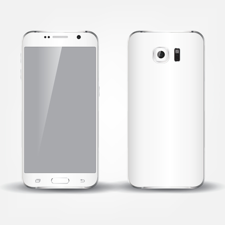 multimedia: Back and front of realistic phone design concept. White color device.