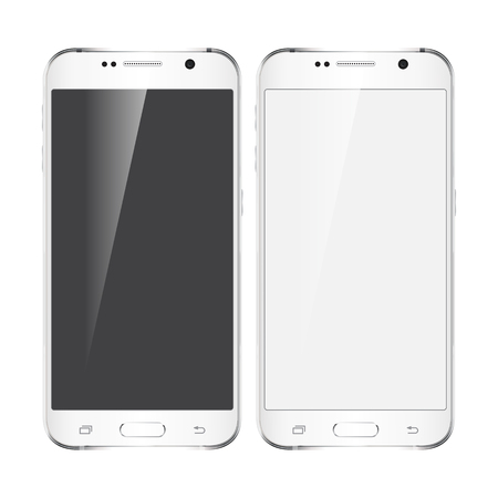 galaxy: Realistic phone design concept. Silver color device with black and white screen. Illustration