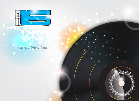 dancing: Happy new year 2016  illustration with music background.