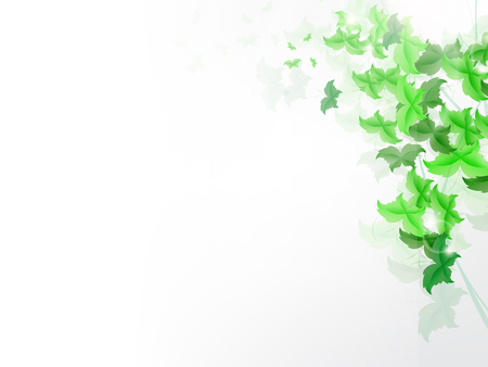 background banner: background with fresh green leaves shapped as butterly. Illustration