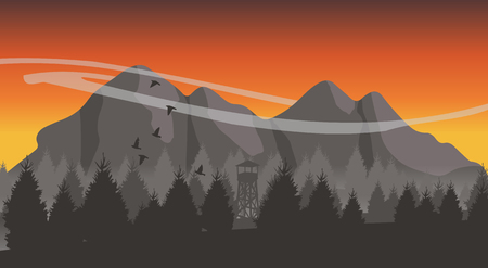 mountain sunset: Beautiful minimalistic mountain view landscape with flying birds on sunset. Illustration