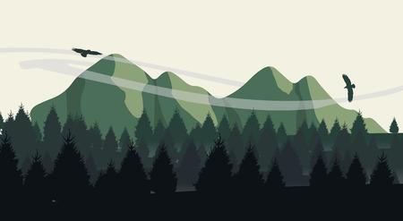 Mooie minimalistische uitzicht op de bergen landschap met vliegende vogels op zonsondergang.