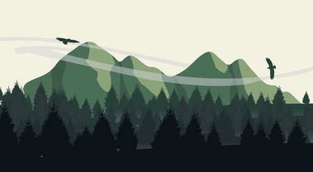 Beautiful minimalistic mountain view landscape with flying birds on sunset. Illustration
