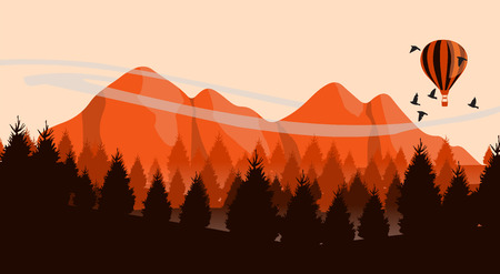 mountain view: Beautiful minimalistic mountain view landscape with flying birds and balloon on sunset. Illustration