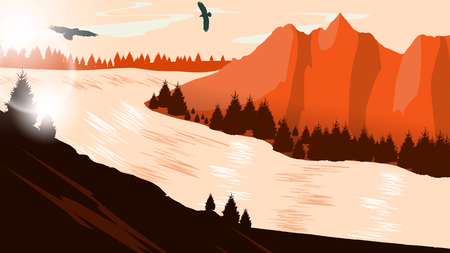 beautiful landscape: Beautiful minimalistic mountain view landscape with flying birds on sunset. Illustration