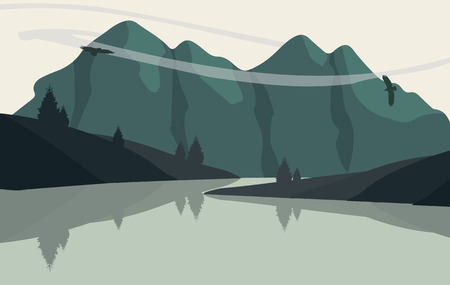 mountain view: Beautiful minimalistic mountain view landscape with flying birds on sunset. Illustration