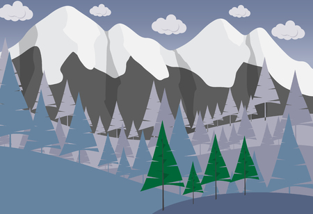mountain view: Beautiful minimalistic mountain view landscape with trees and clouds.