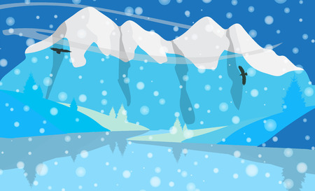 beautiful landscape: Beautiful minimalistic mountain view landscape with flying birds. Illustration