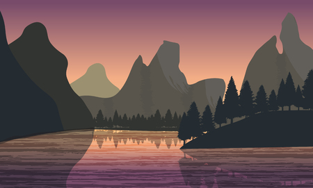 mountain view: Beautiful minimalistic mountain view landscape with a river on sunset.