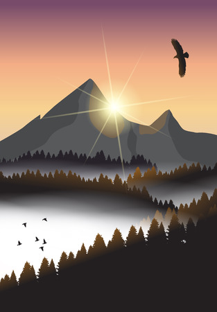mountain pass: Beautiful minimalistic mountain view landscape with flying birds. Illustration