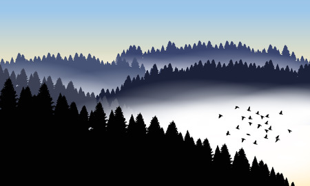 Beautiful minimalistic mountain view landscape with flying birds. Illustration