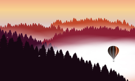 mountain view: Beautiful minimalistic mountain view landscape with flying balloon on sunset.