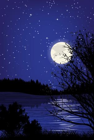 sea wave: Beautiful minimalistic mountain view landscape by night. Illustration