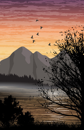 lake sunset: Beautiful minimalistic mountain view landscape with a lake on sunset. Illustration