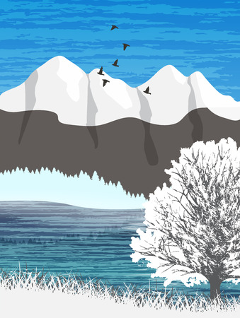beautiful landscape: Beautiful minimalistic mountain view landscape with a lake and flying birds.