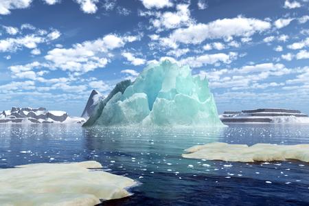 호수에 떠있는 놀라운 빙산. 빙산의 3D 렌더링. 스톡 콘텐츠