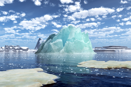 Stunning icebergs floating on the lake. 3D rendering of Iceberg. Banco de Imagens