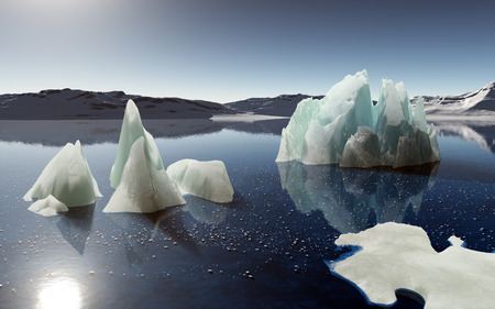 berg: Full calm and reflection of icebergs in deep clear water. Snow and ices islands. Stock Photo