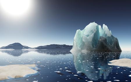 Verano en la Antártida. Hermoso fondo de invierno. 3D rinden