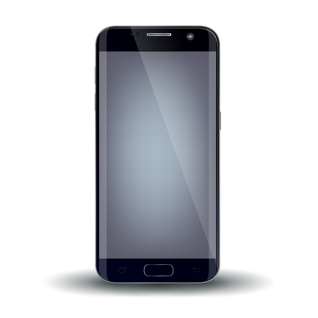 mobile cellular: New version of modern smartphone with blank  screen, isolated on white.