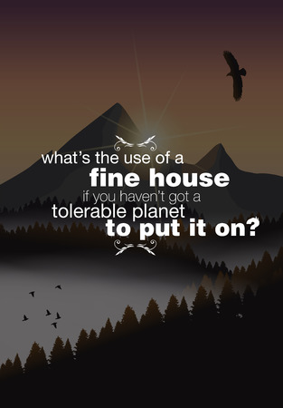 calmness: Whats the use of a fine house if you havent got a tolerable planet to put it on? Motivational poster