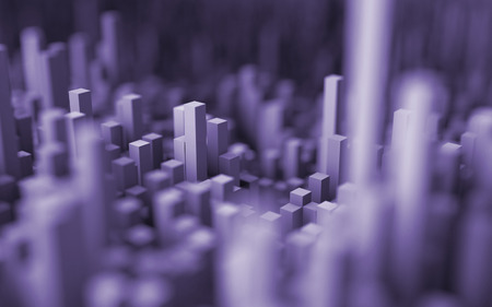dept: 3D illustration of abstract macro render with shallow dept of field. Macro city