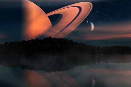 alien world: Distant alien world - earth like planet with multiple moons- 3D Rendered Computer Artwork