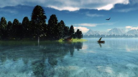 fog: Morning nature scene (landscape): sky, clouds and lonely boat reflected on the water surface. 3D Illustration