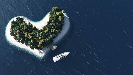 Heart island and beach paradise on the sea for summer holidays. 3D Illustration