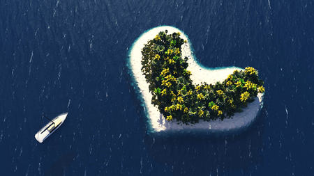 Realistic recreation concept of a small uninhabited tropical island. 3D Illustration