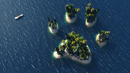 caribbean beach: Animal pawn island and beach paradise on the sea for summer holidays. 3D Illustration