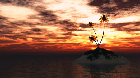 caribbean beach: Silhouette of island in tropical tranquil sea with palm trees and big red sun set rays behind them. 3D illustration Stock Photo