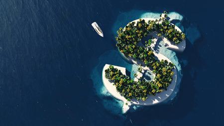 Succes weg. Tropisch eiland in de vorm van de dollar, 3D illustratie Stockfoto
