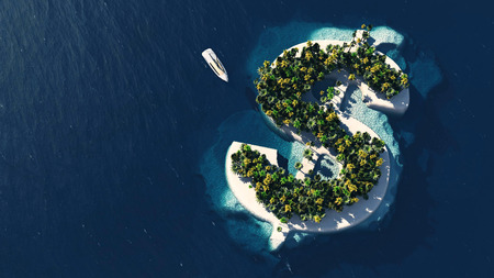 yacht: Success way. Tropical island in the form of dollar, 3D Illustration