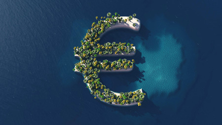 laundering: Success way. Tropical island in the form of the euro symbol, 3D Illustration Stock Photo