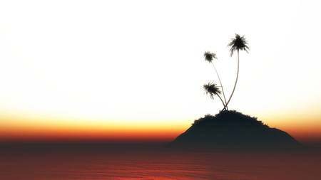 coastline: Small tropical island with a few palm trees at sunset. 3D Illustration