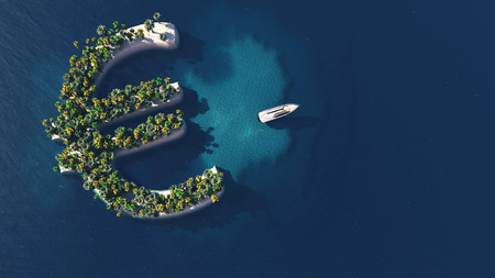 impuestos: camino al éxito. Isla tropical en la forma del símbolo del euro, ilustración 3D