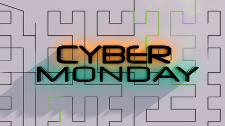 Cyber monday sale symbol and online sales concept as an internet holiday celebration for product discounts on websites. 3D Illustration