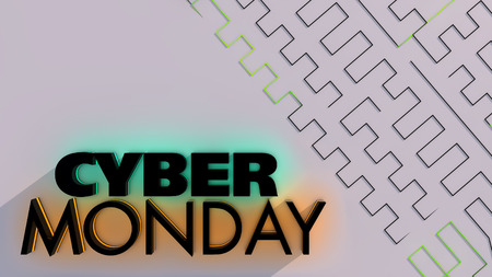 internet sale: Cyber monday sale symbol and online sales concept as an internet holiday celebration for product discounts on websites. 3D Illustration