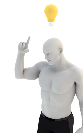 3D man thinking with idea bulb above his head over white background. 3D Illustration