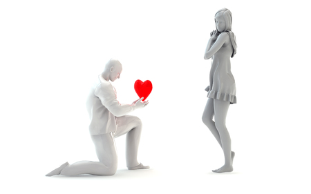 3D Cartoon Character - Guy in Love with Girlfriend offering his Heart Icon, Symbol. 3D Illustration Stock Photo
