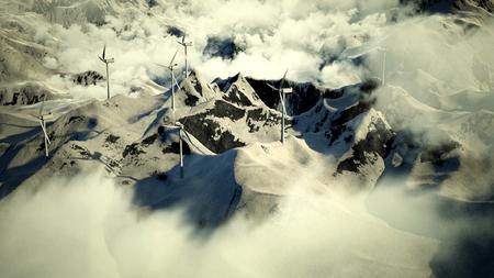 Wind electricity generators in mountain. 3D Illustration