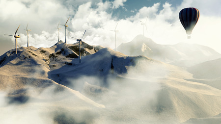 Wind electricity generators in mountain with hot air balloon. 3D Illustration