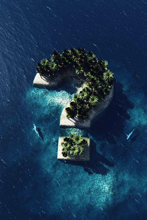 Question mark - shaped island, aerial view with two sharks. Risky vacation. 3D illustration